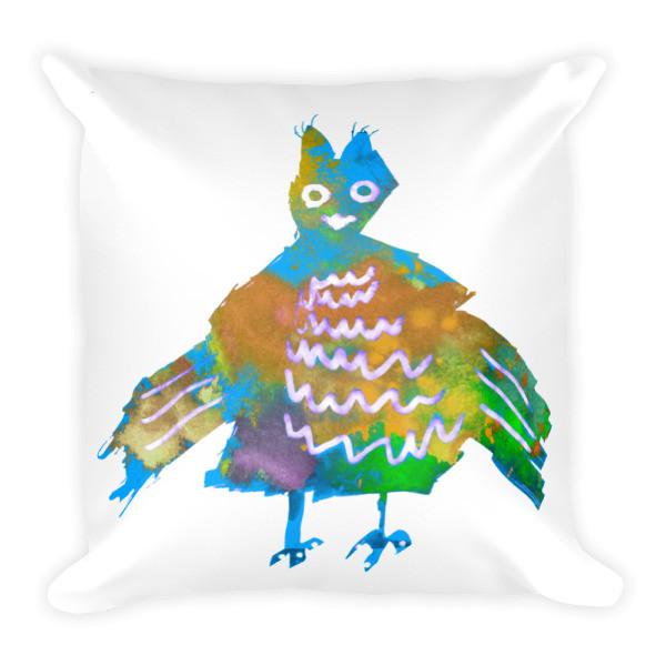 Square Pillow (Blue Phoenix)