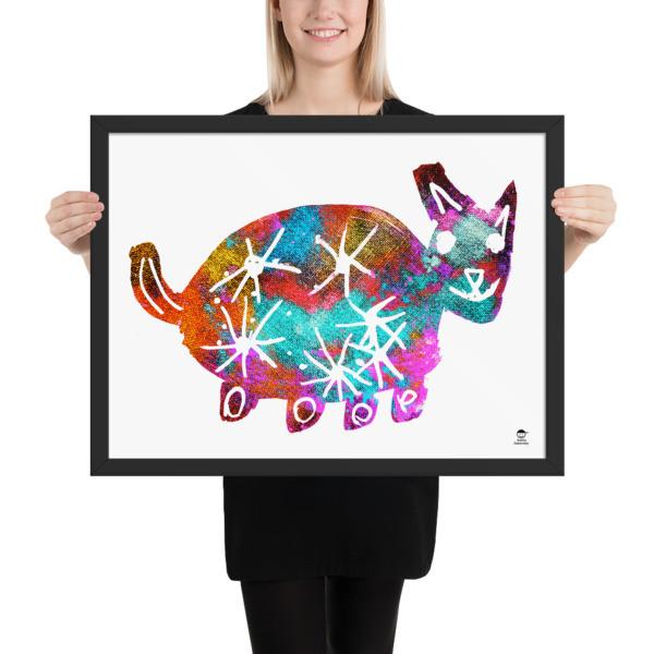 Framed poster (Rolling Cat)